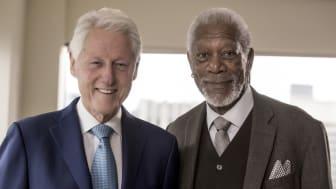Morgan Freeman och Bill Clinton i The Story of Us på National Geographic säsongspremiär söndag den 14/1 kl 21.00.