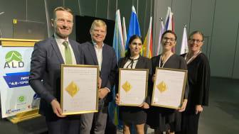 Vinnare Dag Kroslid från NorDan, Miden Melle Hannah från Multi4, Lisa Lindell och Lisa Larsson från Region Gotland med Magnus Hellgren, Sveriges ambassadör i Israel.