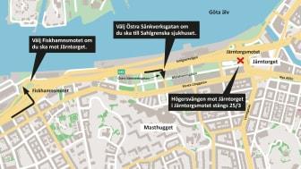 Den 25 mars 2021 stängs högersvängen mot Järntorget i Järntorgsmotet för trafiken på Oscarsleden västerifrån.