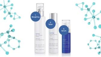 Få en hud i balans med Clarifying Mineral Enzyme Cleanser, Probiotic Mineral Tonic och Probiotic Refining Serum.
