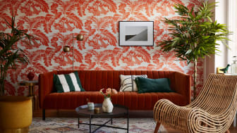 Bild från visningslägenheten i Brf Framsidan som inretts av Nathalie Harb.