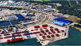 Animerad bild på utbyggnaden av containerterminalen
