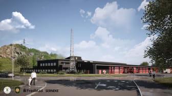 Visionsbild för Uddevallas nya brandstation, sett från Exercisvägen. Illustration: Fredblad arkitekter.