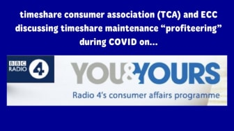 """EccEu  and Timeshare Consumer Association on Radio 4 You and Yours, discussing the great 2020 """"Maintenance Heist""""."""