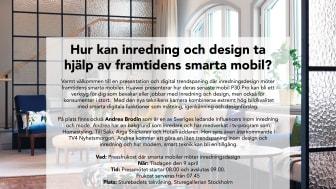 Pressfrukost där smarta mobiler möter inredningsdesign