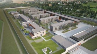 Bis Frühjahr 2024 erstellt die ARGE aus ZÜBLIN und WOLFF & MÜLLER die neue Justizvollzugsanstalt von Sachsen und Thüringen in Zwickau (Copyright: FRICK KRÜGER NUSSER PLAN2 GmbH / Stefan Girsberger)