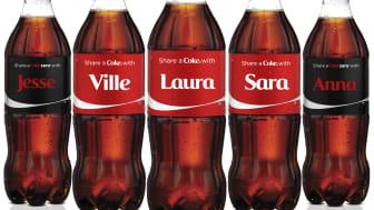 Ville, Tuomas, Laura ja 147 muuta suomalaista saavat nyt nimikko-Coca-Colan