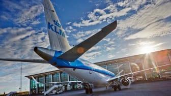 KLM aircraft at Aalborg Airport