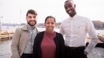Kompassrosstipendiat 2019, Shanga Aziz, Alexandra Tecle, Hamza Mostafa, foto: Nathalie Malic/Stiftelsen Ungt Ledarskap