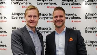 Svenska Handbollförbundets generalsekreterare Robert Wedberg och SolidSports vd Tobias Thalbäck är nöjda med avtalet.