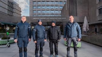 God drift! William Fremstad, Trygve Berg, Trond Berg og Dominik Szylman utenfor Indekshuset.