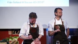 Mikael Kjellson och Fredrik Eriksson pratar unggris på Svenskt Kötts pressträff