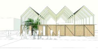 Illustration av ett multifunktionellt växthus av Tailor Made arkitekter.