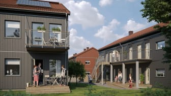 Illustration av det nya kvarteret BoKlok Krysset i Bålsta, med balkonger/altaner samt gemensamma grönytor och naturliga mötesplatser.