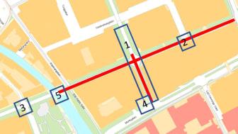 Röd markering visar de sträckor som får ny beläggning. Rutor/siffror visar var alla projekten sker. Projekt 1: Vasagatan, etapp 2. Projekt 2 och 3: Byte av markvärmefördelare, Stora Gatan. Projekt 4 och 5: Mälarenergi utför ledningsarbeten.