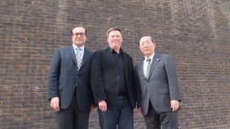 From left to right: Mac Motraghi, Hitachi Rail Europe; Professor Dale Harrow, Head of the RCA Vehicle Design Programme; Chiaki Ueda, Chairman, Hitachi Rail Europe