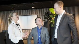ROLLEMODELLER: (Fra venstre) Ingrid Didriksen Bergh (40), Sindre Strupstad Andreassen (36) og Jørn Skaaraas (37) er alle nominert til Årets unge leder av Assessit.  Foto: Hanne Kristine Fjellheim/Sopra Steria