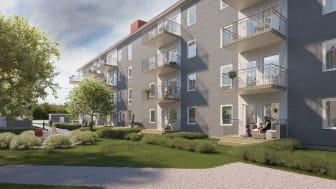 Illustration över gårdssida med balkong/altan, med gemensamma grönytor.