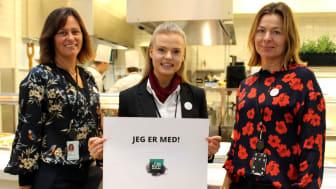 Fra venstre: Anne Marie Schrøder, Ida Silseth og Anne-Grete Haugen jobber aktivt for å redusere matsvinn i NHO-bygget. Nå sparker de igang KuttMatsvinn-uken for å få de ansatte i bygget med på laget.  (Foto: Anne Birgitte Hjelseth/NHO)