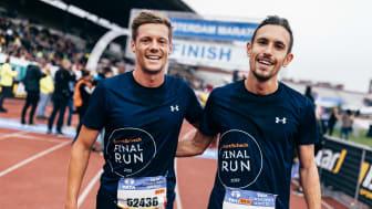 """David Schönherr und Tom Ring waren beim TCS Amsterdam Marathon 2019 über 8 km in der Kategorie  """"Business"""" nicht zu stoppen."""