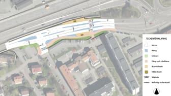 Arbetsområdet vid Finngösa hållplats i Partille med planerade åtgärder.