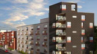 Brf Nyckeln är ett av de tre bostadsrättsföreningar som Riksbyggen uppfört längs Erik Dahlbergs väg.