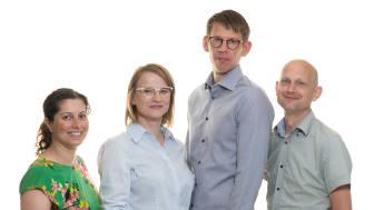 G4 Cancer Cure: Biokemisten Nasim Sabouri, projektledaren Milada Jamroskovic, kemisten Erik Chorell och cellbiologen Sjoerd Wanrooij.