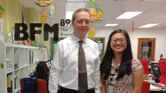 HBM's Mark Laudi with BFM presenter/producer Christine Wong after the interview