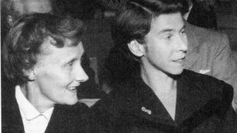 Astrid Lindgren och Tove Jansson i Stockholm 1958