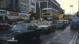 Northumberland Street at the junction of Northumberland Road in the early 1980s. The BHS/C&A building is now Primark