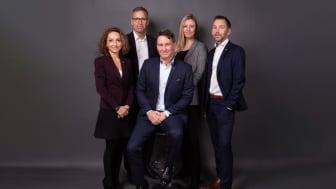 HSB Bostads ledningsgrupp: Wafa Knutson, Mats Persson, Jonas Erkenborn, Linda Younes & Peter Lundmark. Fotograf: Daniel Gual