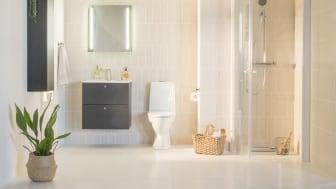 Vuonna 2018 kylpyhuoneen kalusteissa on kulmikkuutta ja selkeitä linjoja, ja tila muodostaa kevyesti sisustetun kokonaisuuden.