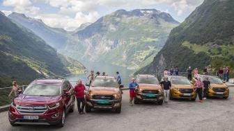 Med nye Ford Edge og Ford Ranger i Geiranger under den internasjonale presselanseringen av disse modellene.