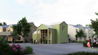 Byggmaterial återbrukas i nytt bostadsområde