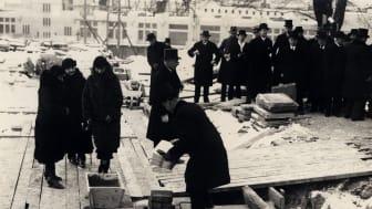 Grundstensläggningen vid Sjöfartsmuseet Akvariet 4 feb 1931