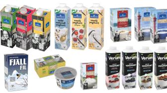 Norrmejeriers sortiment av ekologiska mejeriprodukter. Montage: Norrmejerier
