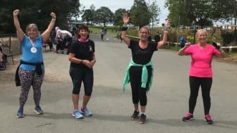 Getting moving (from left) Amanda Clayson, Lynn Shakespeare, Myra Gaffin and Dawn Flanagan.