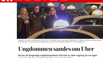 De borgerlige ungdommene vil ha Uber, og nå har de fått det, igjen med ulovligheter, mangel på skattekontroll og med sosial dumping. (Skjermdump fra VG 2017)
