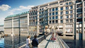 """Über eine  neue  Fußgängerbrücke  kann  der  """"Alte  Wall""""  auch  von der  gegenüberliegenden Fleetseite erreicht werden. (Copyright: Art -Invest/Cadman)"""