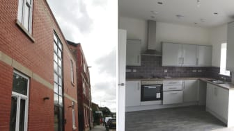 The exterior and interior of the new flats on the former Radcliffe Times building.