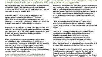 WE'RE OPEN TO CHANGE – SAY NHS MANAGERS (results from our Healthcare Survey enclosed)