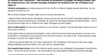 Plantagon in Dagens Nyheter