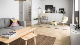 Illustration av vardagsrum, BoKlok radhus. OBS! Bilden är en illustration och avvikelser kan förekomma i slutprodukt
