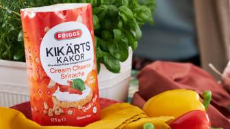 Friggs Kikertkaker i smaken Cream Cheese Sriracha. Du finner høyoppløselige bilder nederst i pressemeldingen.