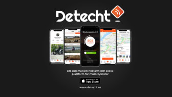 Start Up-bolaget Detecht har utvecklat en app med ett automatisk säkerhetslarm. Målet är att minska larmtiden med 50 % från det att en motorcykelolycka skett tills ambulansen anländer.