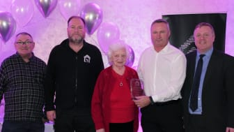 CCF Award presented to ng homes Concierge Service - John Thorburn, ng homes Chair; Arthur McGill, ng homes Concierge; Margaret Thomson, ng homes Board Member; Colin Leverage, ng homes Concierge and Property Manager; and Bob Doris MSP.