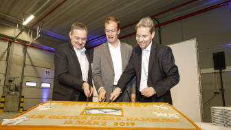 Satair Group Kit Factory Inauguration Ceremony on March 13 2017 (Cake cutting) Middle: Satair Group CEO, Bart Reijnen. Left: Satair Group VP of Supply Chain, Tim Bothe. Right: Head of Northern Germany at Goodman, Markus Meyer