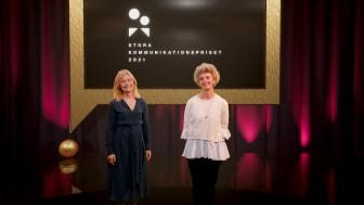 Hanna Brogren, generalsekreterare och Viveka Hirdman-Ryrberg, ordförande, Sveriges Kommunikatörer, ledde galan.