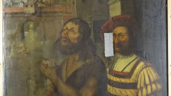 Bowes Museum panel painting (photo credit Northumbria University and The Bowes Museum)