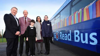 Colin Barnes, Brian Walker, Sara Swales and pupils Alexa, 11 and Harry, 14